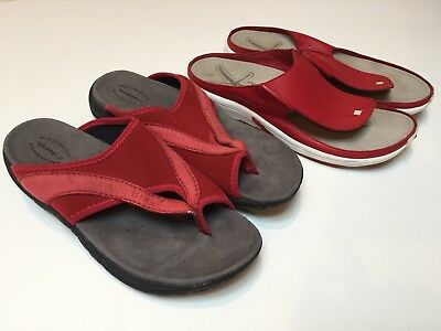 Merrell Red Womens Leather Sandal Shoe Lot Of 2 Pair Size 10 EU 41 42 - GUC!