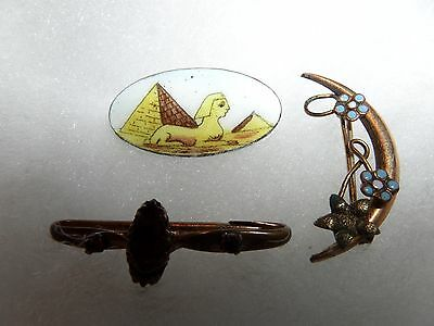 3 Lot Vintage Or Older Small Pin Pins Brooches From Estate