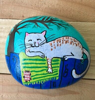 Happy Lazy Cat Over Rug & Fence Art Rock Hand Painted OOAK Gift Collector