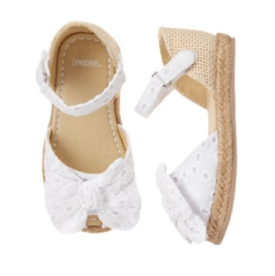 Gymboree Family Brunch White Eyelet Bow Sandals Toddler Girls Size 6, 8, 9 NEW