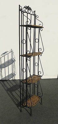 Vintage Ornate Wrought Iron & Rattan Bakers Rack / Bookcase