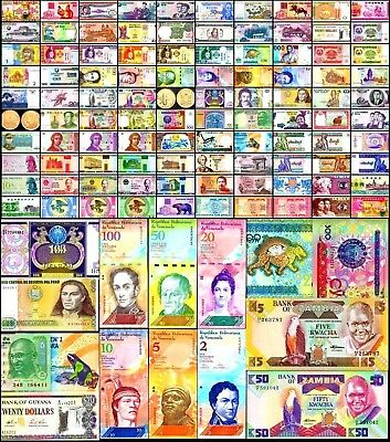 100 Different Types World Currency incl.Venezuela set of 6, All New, UNC