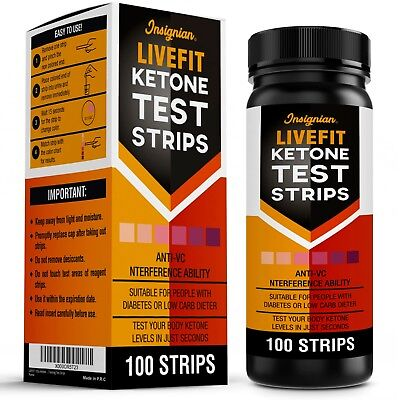 100 LIVEFIT Ketone Test Strips Urine Analysis Keto Sticks Ketosis Ketostix Diet