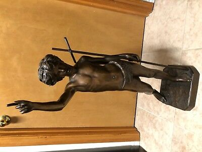 """Eclectic 31"""" tall antique bronze statue - good quality, tall, signed P. Dubois"""
