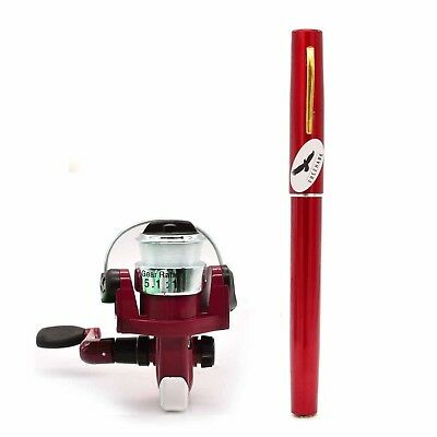(Red) - PiscatorZone Mini Pocket Pen Fishing Rod Set Carbon Fibre Telescopic