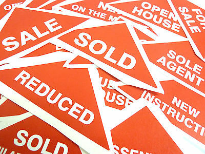 Property Sales Labels Red Large Triangles Estate & Letting Agents Stickers