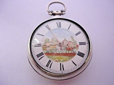 Rare Antique  Silver Polychrome Enamel Painted Dial Verge Fusee Pocket Watch