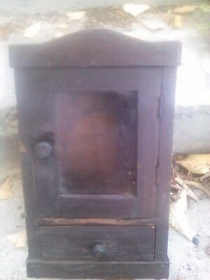 Old Antique Dark Primitive Wooden One Drawer Wall Hanging Clock Box