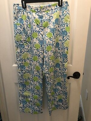 Vintage Lilly Pulitzer The Lilly Blue Green Pants  32 Waist 39 Hips