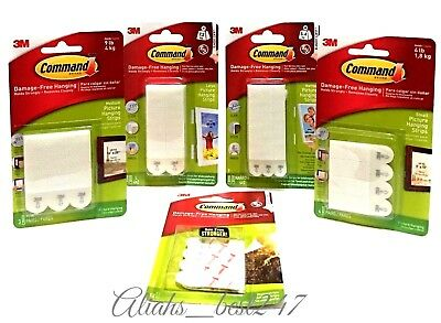 3M Command Picture Hanging Strips Photo Frame Poster Canvas Damage free all Size