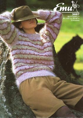 "EM3687 LADIES MOHAIR & DK 3 COLOUR SWEATER KNITTING PATTERN 32-40""/81-102cm"