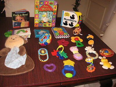 LARGE LOT OF Infant/Baby/Child  Developmental Educational Rattles/Teethers/Books