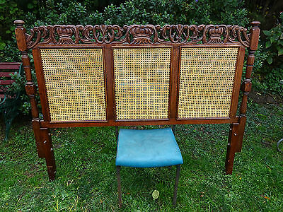 Antique Rattan Carved Bedhead