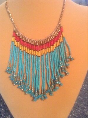 Gold Tone Hand Beaded Made In India Bib Necklace... Beautiful!