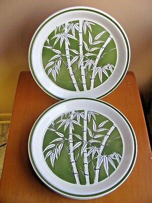 LOT 5 Ironstone DINNER Plates Made in Japan GREEN BAMBOO pattern Midori 1301