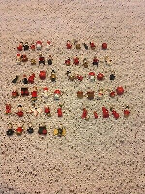 """Vintage Hand Painted 50+ Pc Lot of Miniature Wooden Christmas Ornaments 1"""" NICE!"""