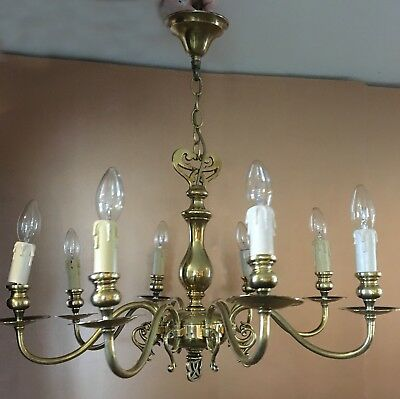 Beautiful  Vintage Brass 8 arm Chandelier with interesting design