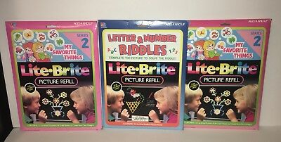 Vintage Lite Brite Paper Refill-50 Blanks, 50 Pictures And Puzzles Lot Of 100