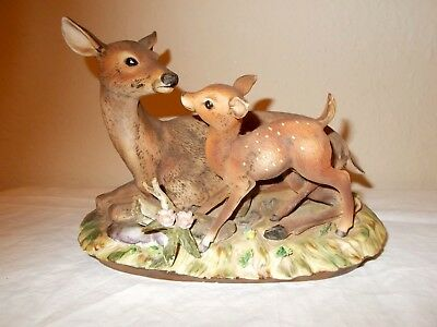 Home Interiors Masterpiece by Homco Deer and Fawn Porcelain Figurine 1979