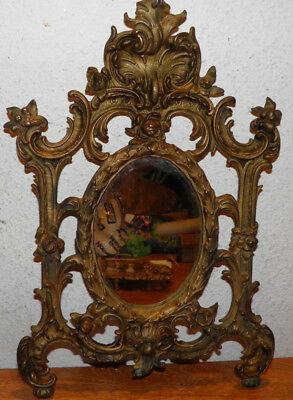 Antique Ornate Victorian Hanging Cast Iron Mirror 1890 Gold Color Beauty $15 OFF