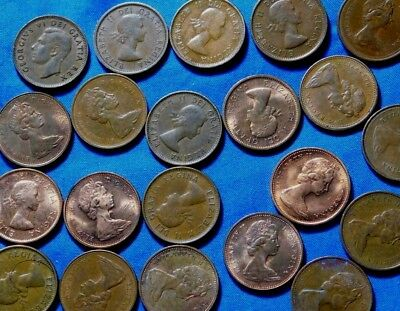 1950S-   1960S     20  Canadian Pennies    Many Uncirculated  Coins .  A23-4273