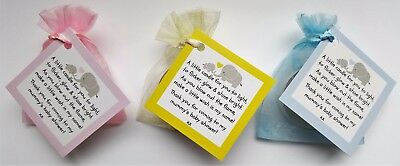 Baby Shower Candle Tea Lights Favours Blue Pink Yellow Guest Thank You Gifts