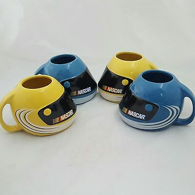 Nascar Racing Helmet Coffee Mugs Cups 2003 Yellow Blue Set Of 4