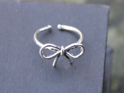 Adjustable 925 sterling silver bow top finger stacking midi ring Gift for her