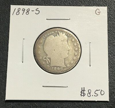 1898-S U.s. Barber Quarter ~ Good Condition! $2.95 Max Shipping! C627