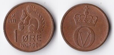 1971 Norway 1 ore coin with squirrel