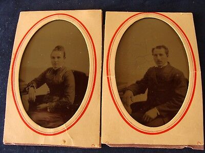 OLD VINTAGE ANTIQUE TINTYPE PHOTOS 2pc OLDER WOMAN &  OLDER MAN LATE 1880S