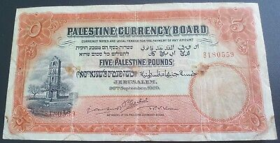 Five pounds Palestine 1929 banknote, restored and repaired but still rare