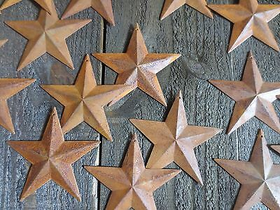 """Lot of 6 Rusty Barn Stars Americana 3.75 inch 3 3/4"""" Rusted Primitive Country"""