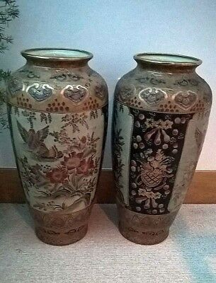 A PAIR OF BEAUTIFUL LARGE ORIENTAL CERAMIC VASES Gold finish,