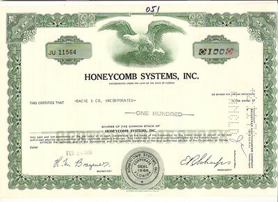 1969 Honeycomb Systems Inc Vintage 100 Share Stock Certificate Florida Usa