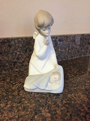 Vintage Lladro Guardian Angel with Baby Non Glazed Mint