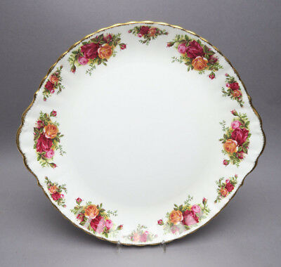 Old English Rose Royal Albert Kuchenplatte mit Griffen 31,5 Goldrand Rosendekor
