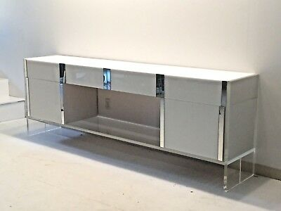 Credenza white & acrylic w. 4 drawers & 2 cabinets w.mirror detail.