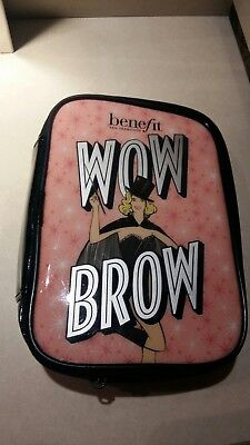 Benefit Make Up Bag Wow Brow Full Size Zip Up Wipe Clean Free PP
