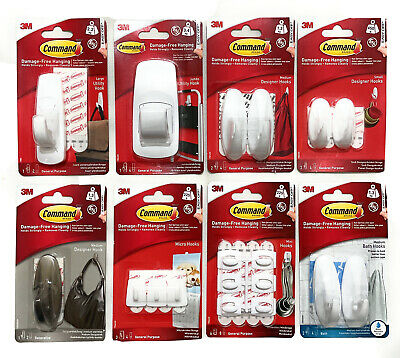 3M COMMAND Designer Hooks Large Medium Small With Strips Damage Free Hanging