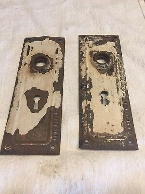Pair Of Antique Shabby Chic Door Knob Backplates