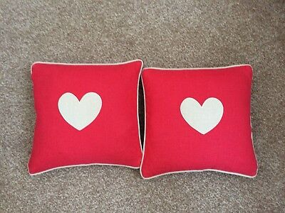 2 Red Small Country Heart Cushions 30 X 30cm