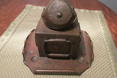 Arts and Crafts Mission Copper Inkwell Hand Hammered