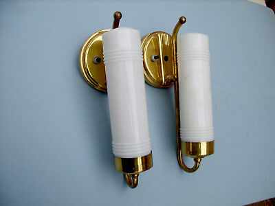 Vintage Art Deco Brass And Glass Wall Lamp Pair