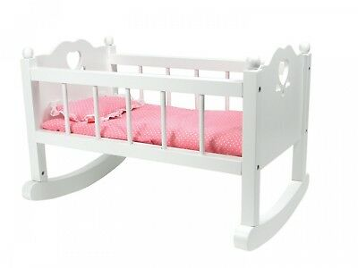 White Baby Doll Cradle Furniture,Open Sides & Heart Cutout Design Plus Doll