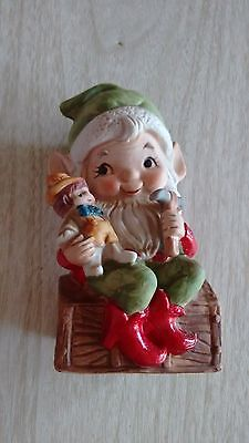 Vintage Christmas Decor Homco 5406 Elf Making Toy Ceramic
