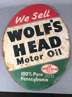"""Vintage Original 1954 Wolf's Head Motor Oil Painted Tin Sign 30""""x23""""  Two Sided"""