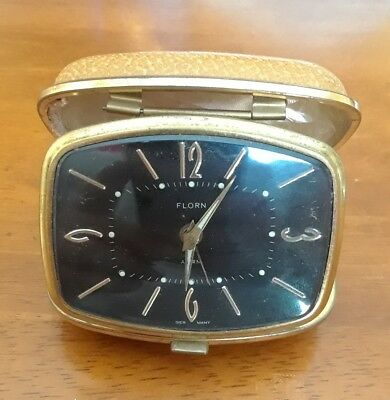 Vintage Florn Travel Alarm Clock Brown Case Made in Germany