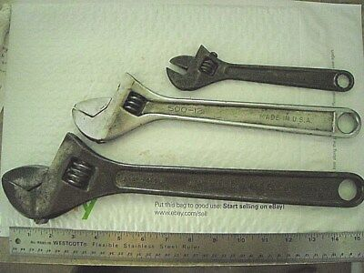 """3 Adjustable Wrenches-15"""" WILLIAMS SUPERJUSTABLE,12"""" KLEIN , 8"""" DANIELSON -USA"""