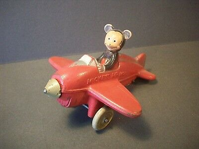 "Vintage Sun Rubber Toy Mickey Mouse Airplane 6.5"" Original Paint Disney Auburn"